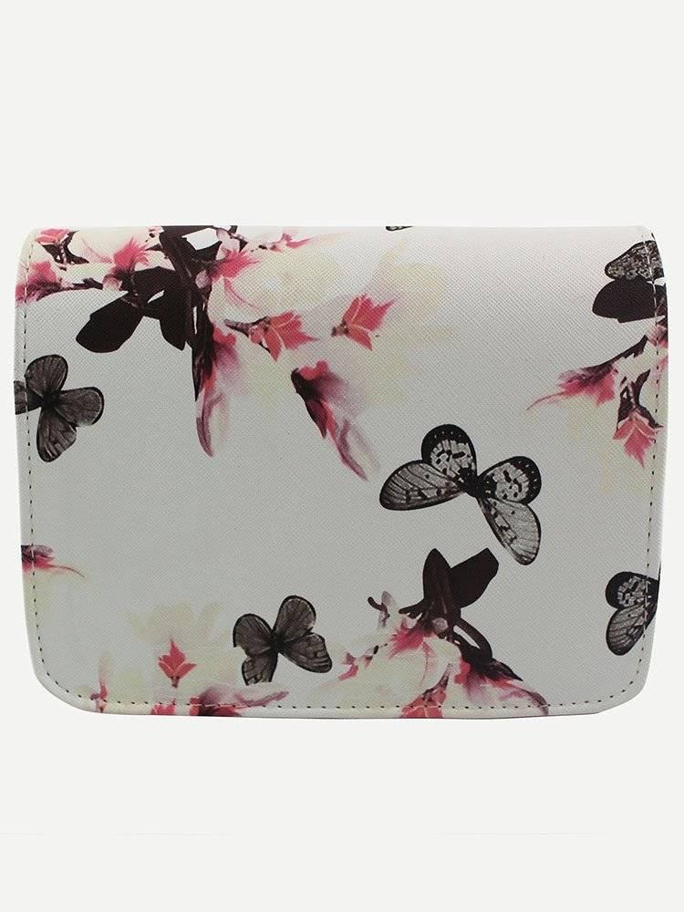 حقيبة بيضاء بطباعة أزهار وفراشة-3