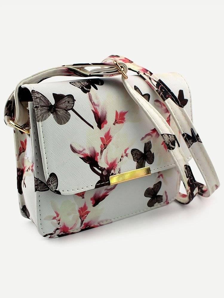 حقيبة بيضاء بطباعة أزهار وفراشة-5
