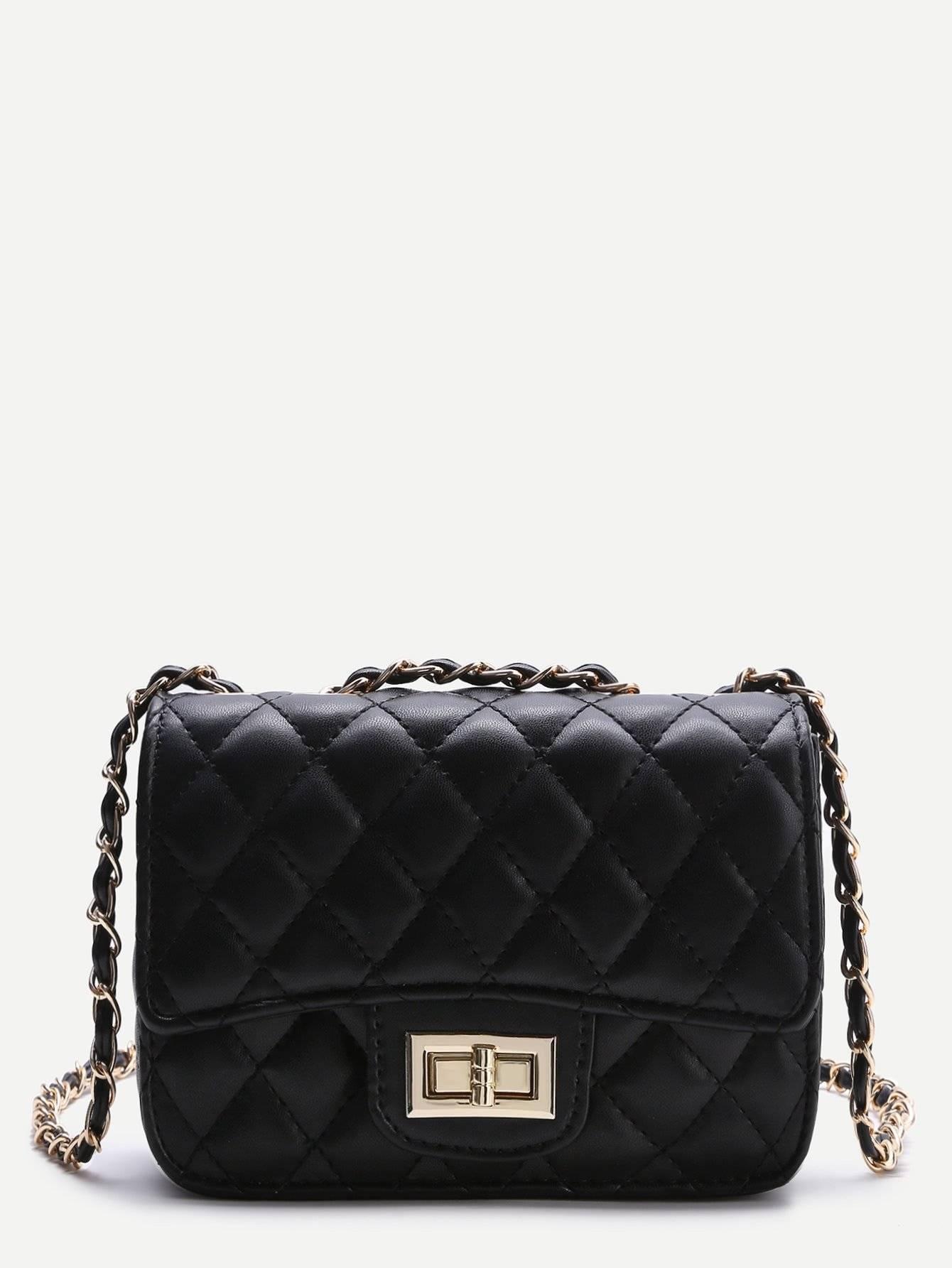 حقيبة نسوية أزياء سوداء مع السلسة-5