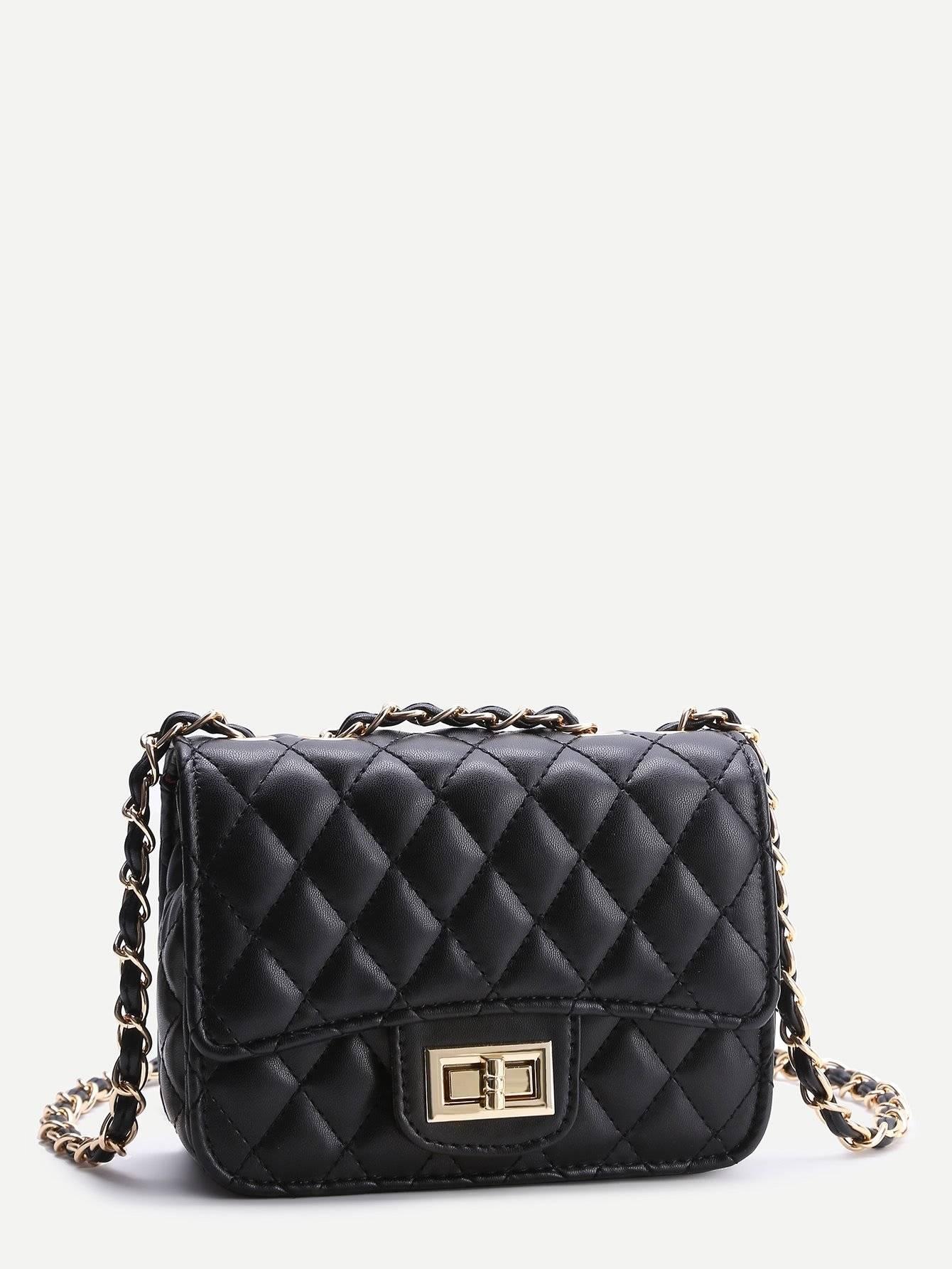 حقيبة نسوية أزياء سوداء مع السلسة-7