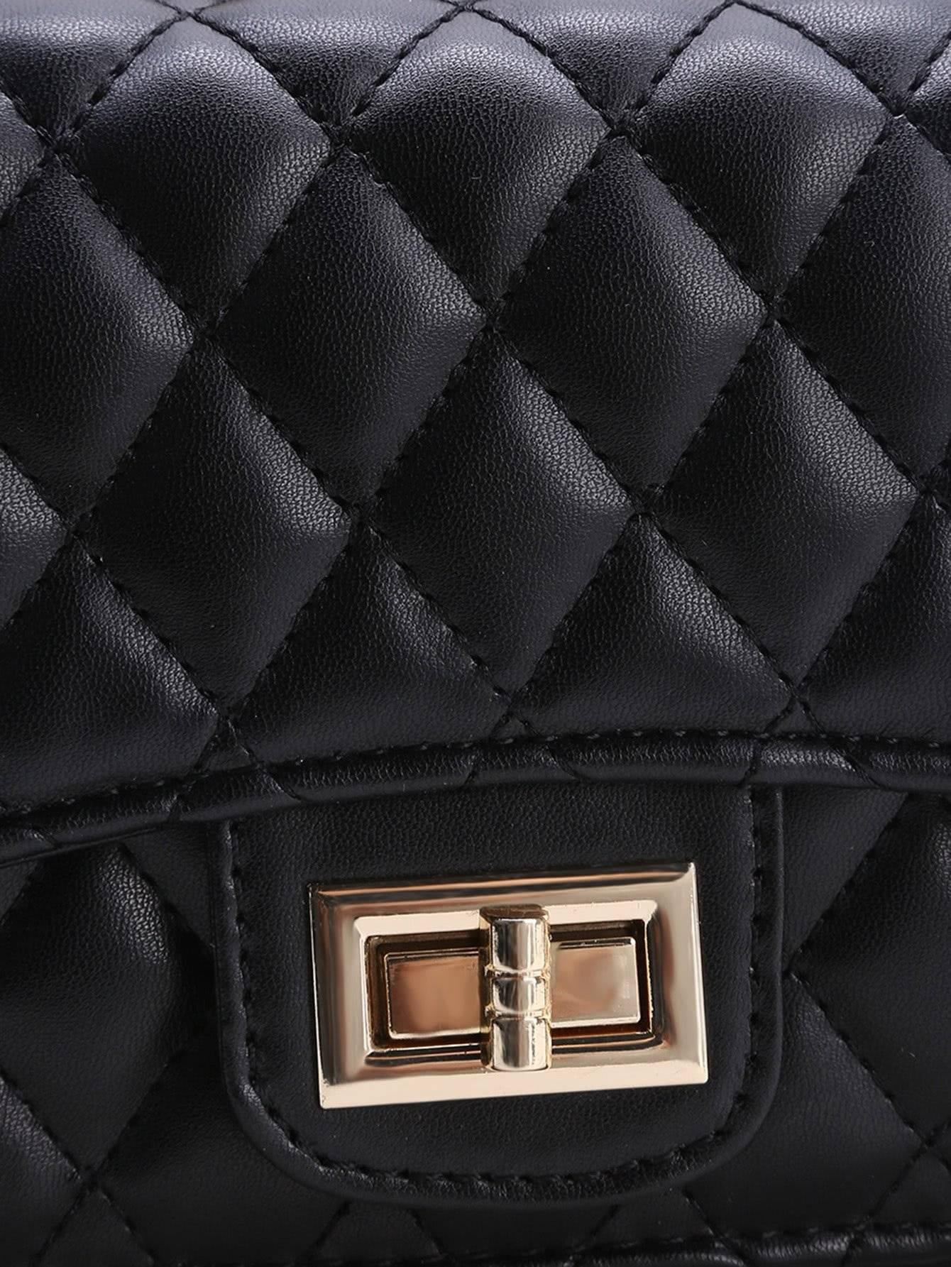 حقيبة نسوية أزياء سوداء مع السلسة-8