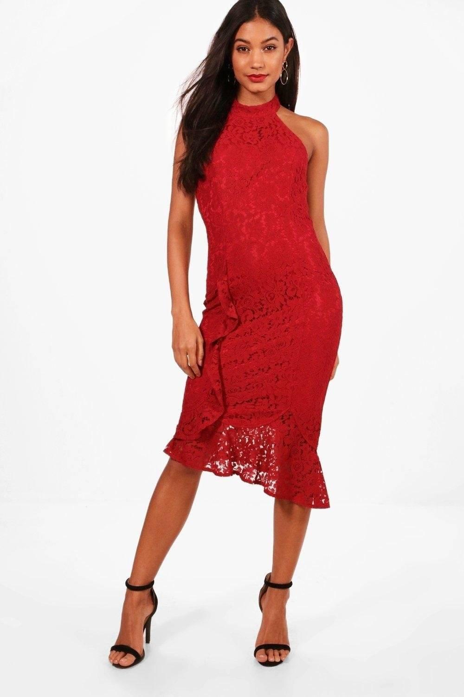 فستان متوسط الطول بدانتيل-1