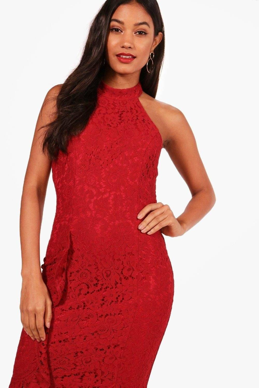 فستان متوسط الطول بدانتيل-4