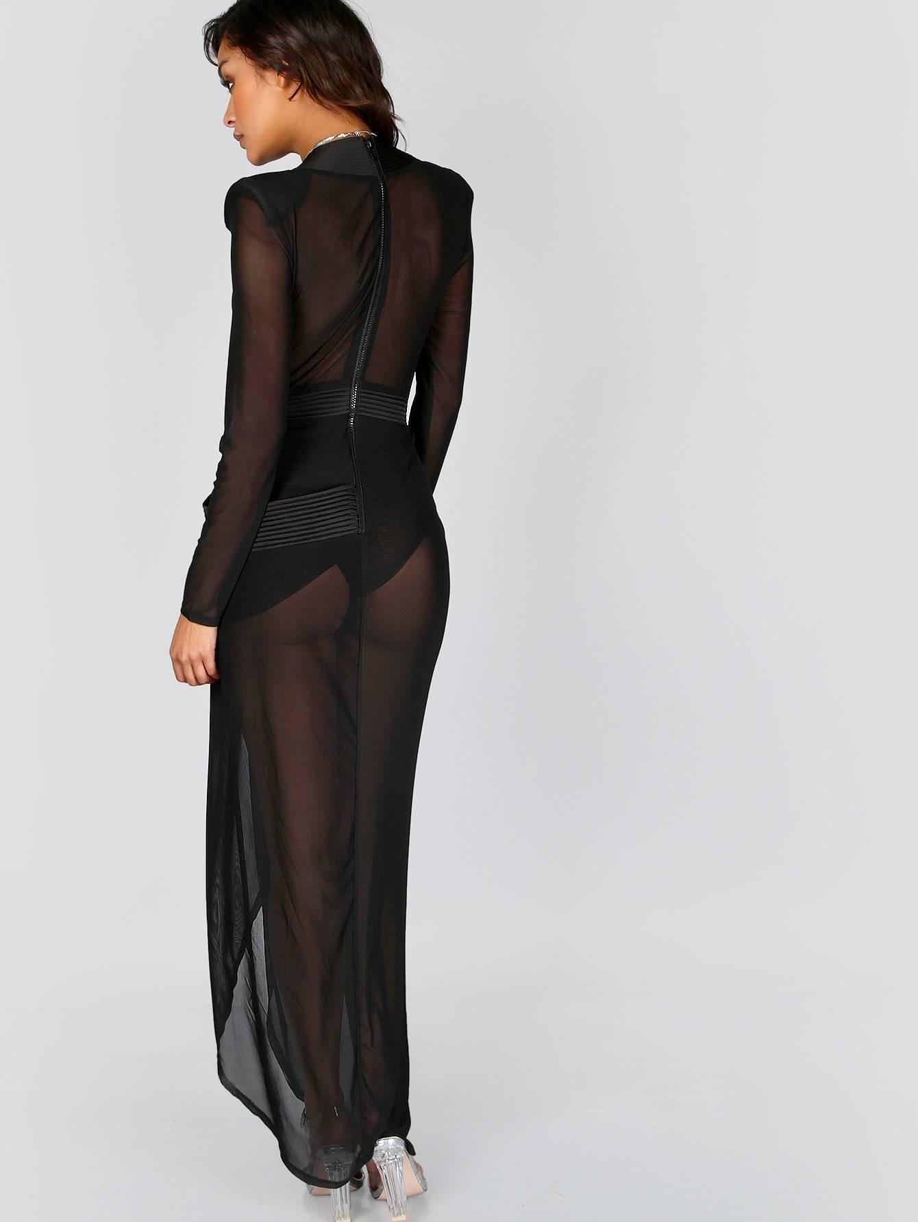فستان اسود كم طويل مفتوح من الامام شفاف-4