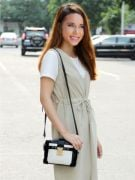 Black shoulder bag in white-1