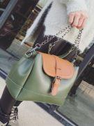 Large shoulder bag with long metal hand-2
