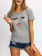 Casual T-Shirt Gray Short Sleeve-1