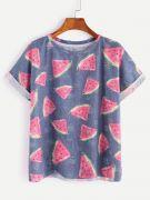 T-Shirt Print Watermelon Short Sleeve Round Jacket-1