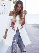 Open Shoulder Jacket Medium Sleeve Print Flowers - White-1