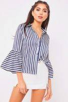 Blue and white curry blouse and several bells-3