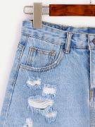 تنورة جينز قصيرة بقطع في الامام-1