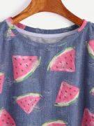 T-Shirt Print Watermelon Short Sleeve Round Jacket-2