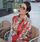 قميص ساتان مطبع وردي-5