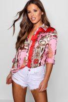 قميص ساتان مطبع وردي-1