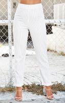 Striped white trousers-1