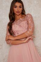 فستان وصيفة العروس من الدانتيل باللون الوردي-2