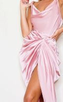 Midi dress with side neck in rose satin-4