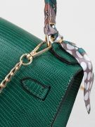 Leather bag with a golden metal clasp medium size-6