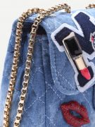 A bag with a chain of blue denim-5