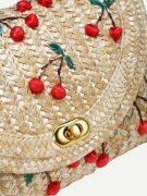 Shoulder bag of woven grass-3