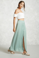 The satin skirt is a green olive-colored muxi-5