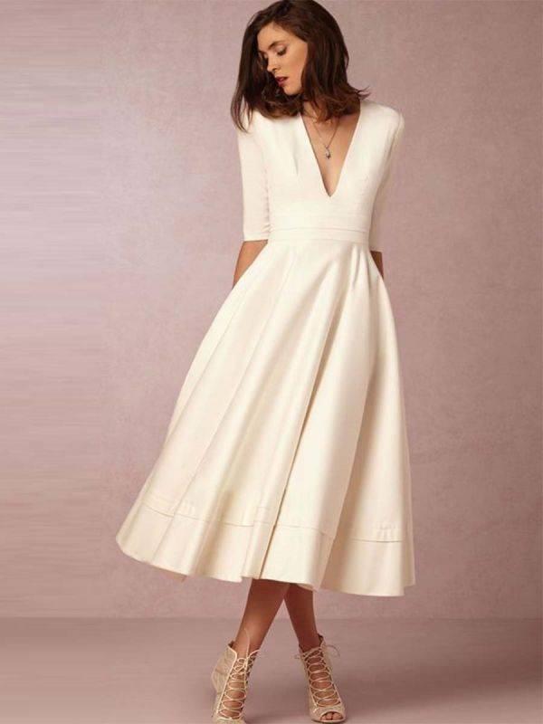 Midi Cream Dress Up