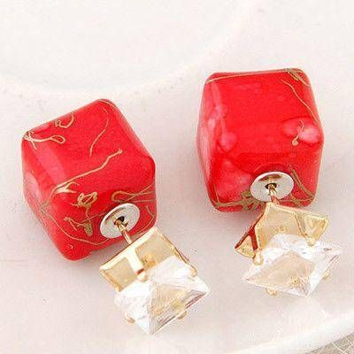 Double-sided shaved square cubic zirconia