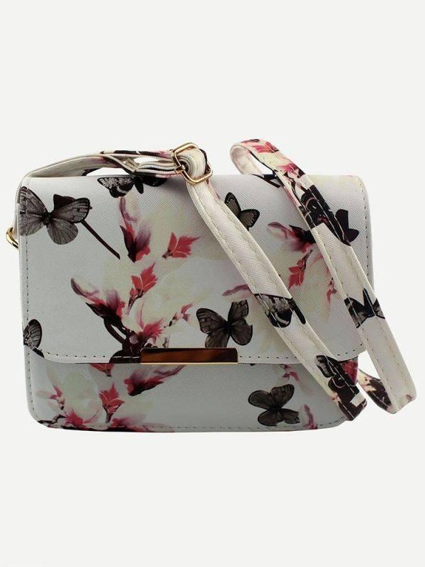 حقيبة بيضاء بطباعة أزهار وفراشة-1