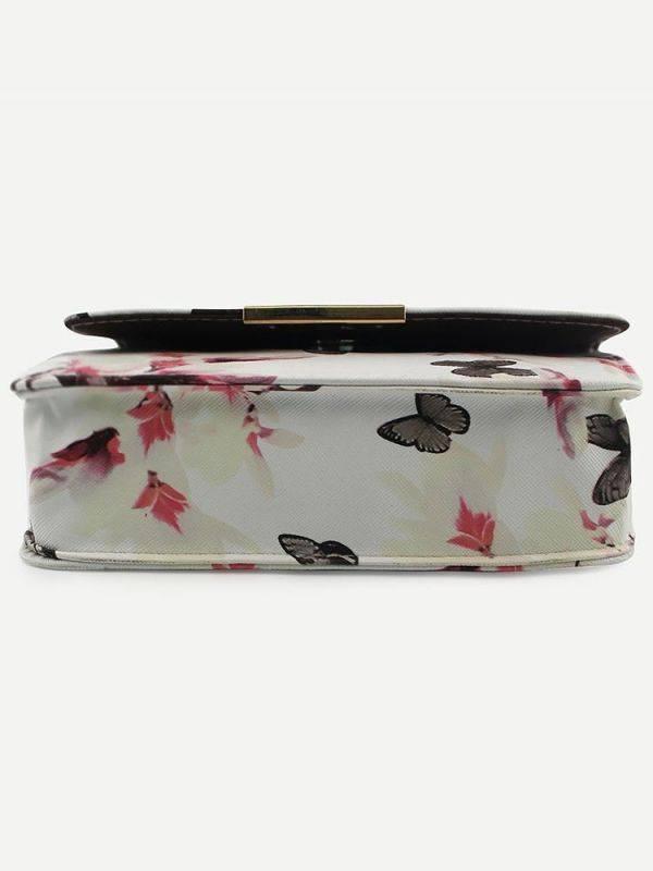 حقيبة بيضاء بطباعة أزهار وفراشة-4