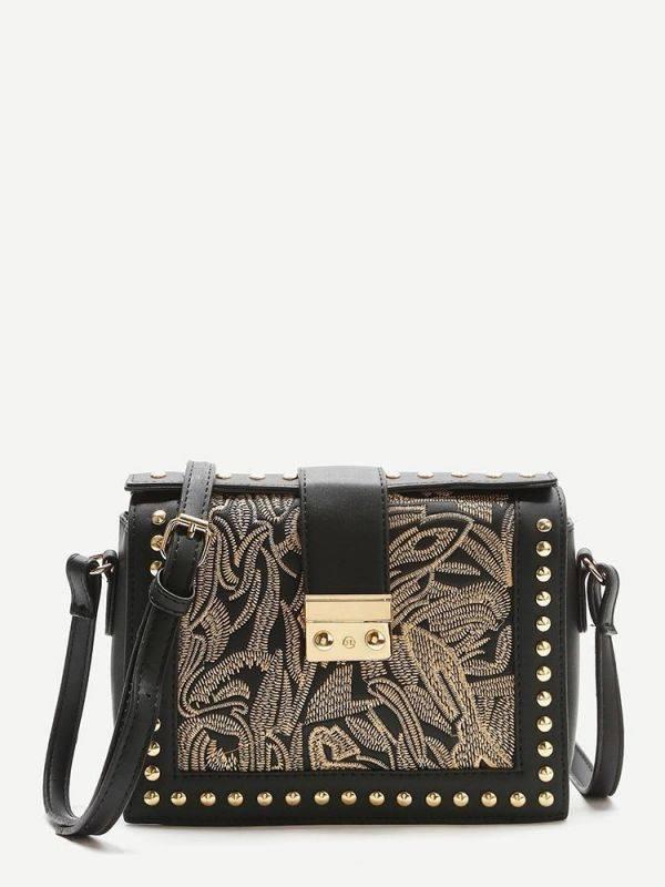 Black PU leather shoulder bag