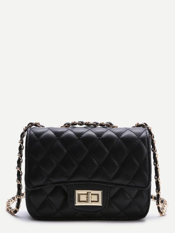 Women's fashion black bag with smooth