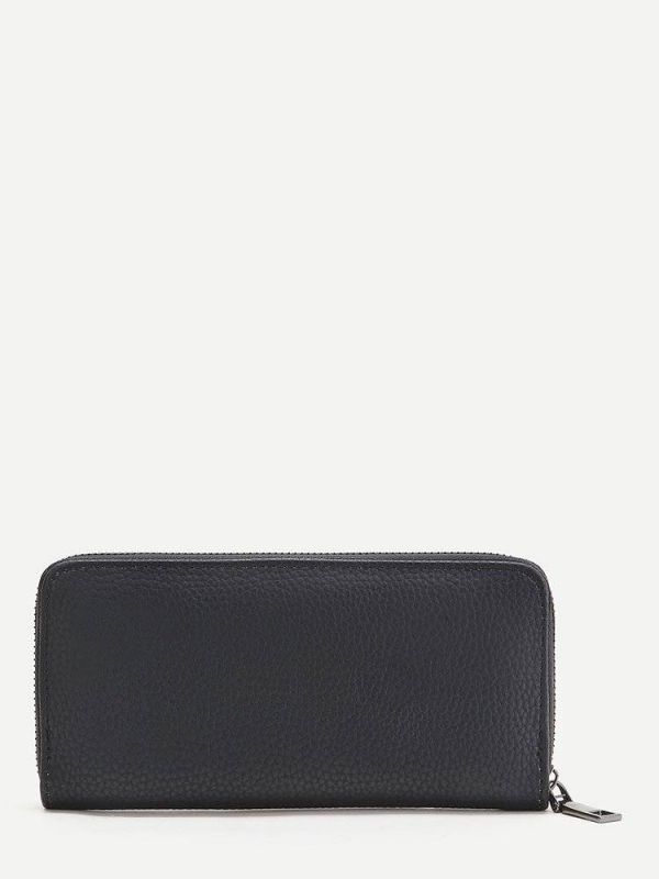 Black wallet with rose embroidery