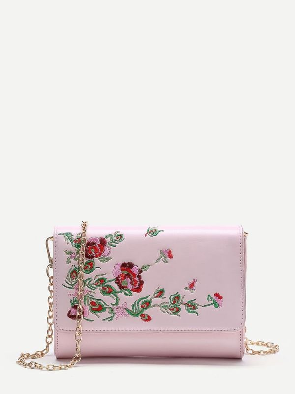 Leather bag with floral pattern