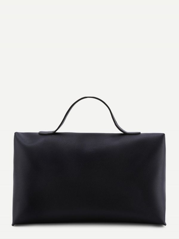 A large black lacquered bag
