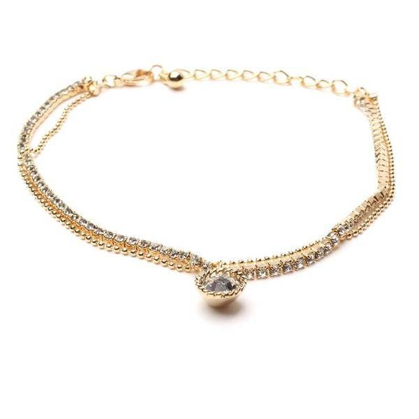 Anklet inlaid with crystal