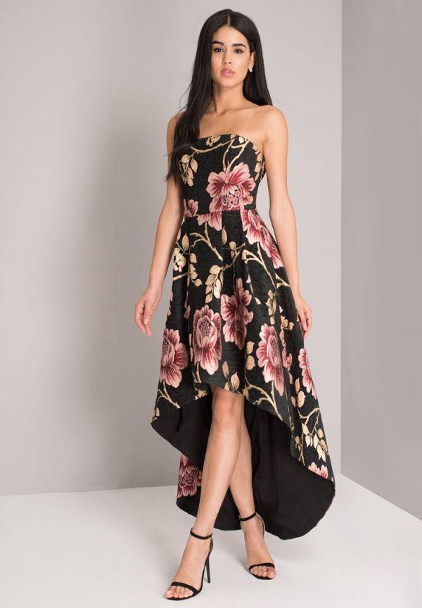 فستان أسود ميدي مشجر ورود تشي تشي لندن
