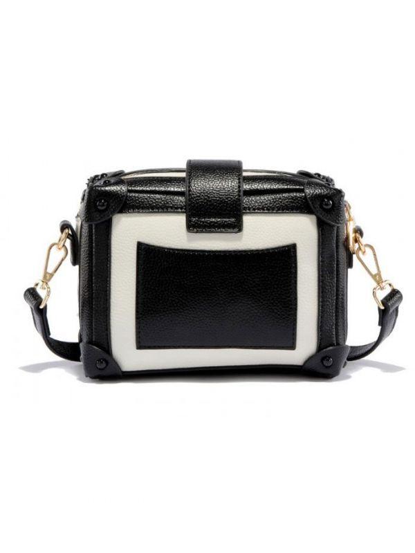 Black shoulder bag in white