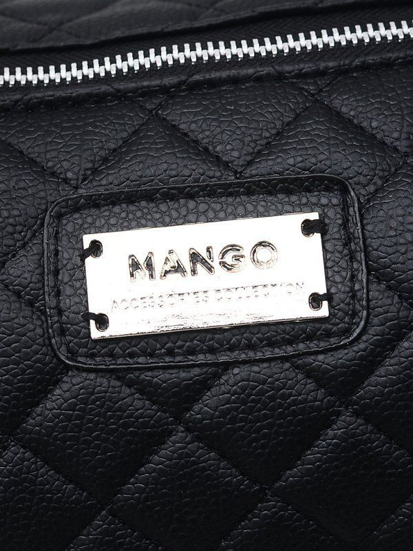 Mango black leather