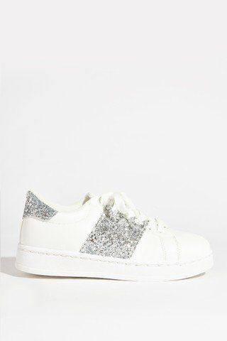 Women sport shoes with silver glitter
