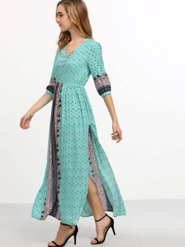 فستان طويل نصف كم - أزرق