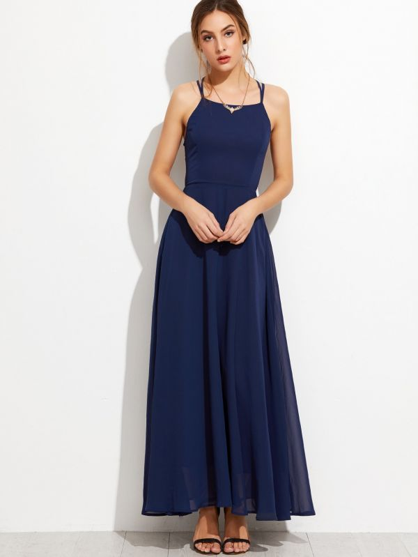 Dark blue dress belted back sleeveless