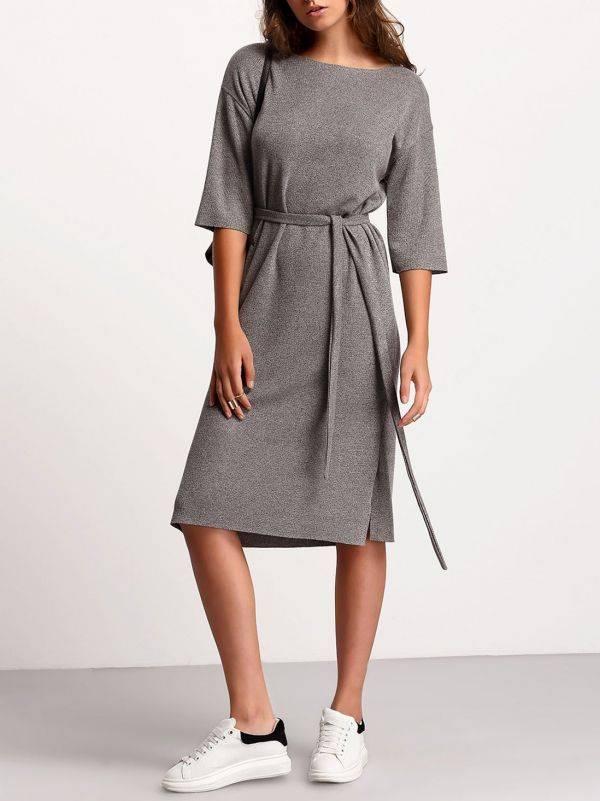 فستان رمادي متوسط الطول-4