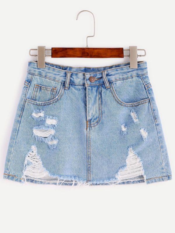تنورة جينز قصيرة بقطع في الامام-3