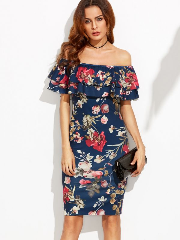 Strapless short-sleeved dress with flower print