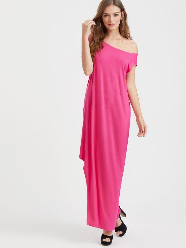 Dress T-shirt open shoulder - pink
