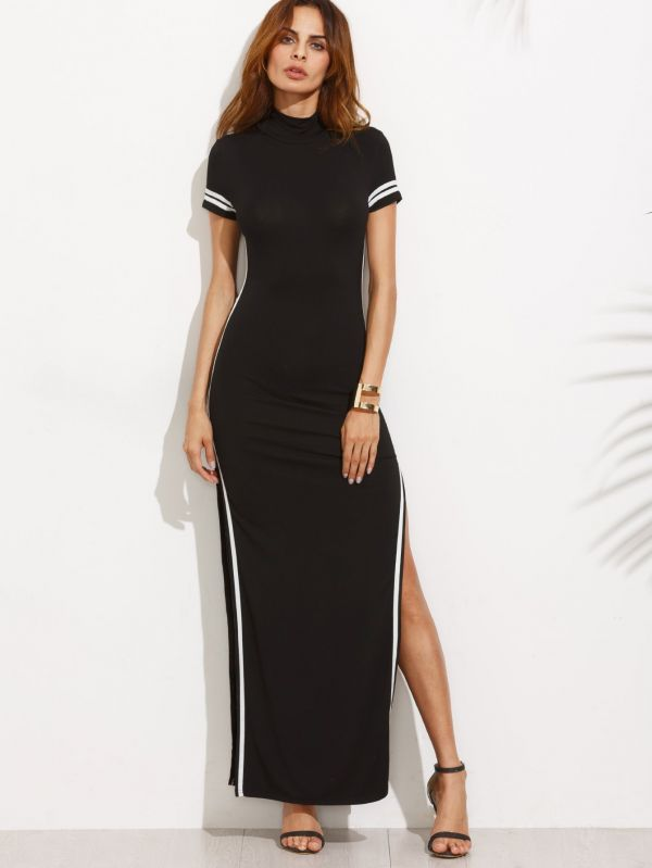 Long black dress with a short sleeve opening
