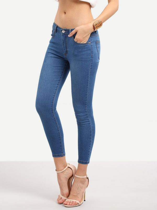 Tight blue elastic jeans
