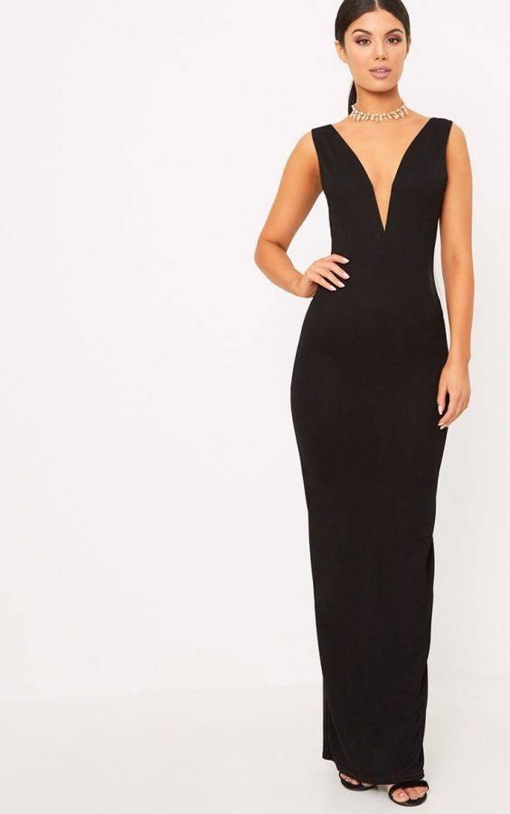 فستان ماكسي اسود اللون-1
