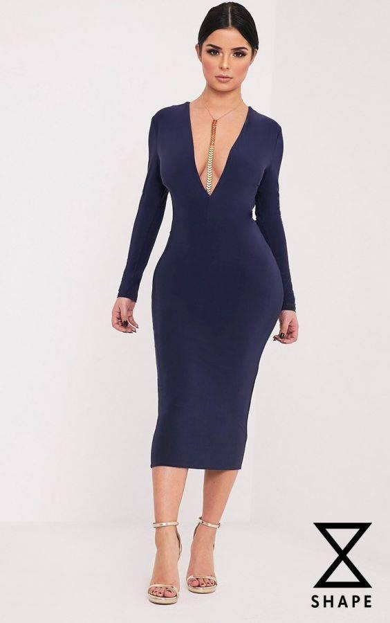 فستان كحلي متوسط الطول بكم طويل