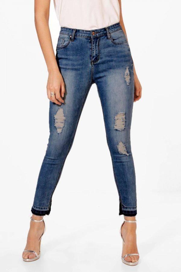 بنطلون جينز ضيق بخصر عالي-1